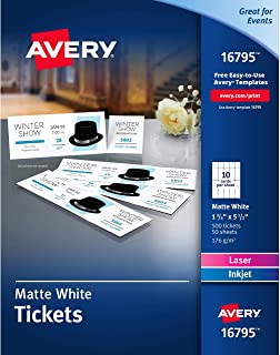 Avery Matte White Printable Tickets with Tear-Away Stubs, 1-3/4 x 5-1/2, Pack of 500 (16795) (Renewed)