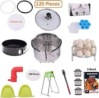 "Haraya 120 Instant Pot Accessories Set | 3 Pcs Divided Steamer Basket, Steam Diverter, Parchment Paper, Silicone Lid, Glass Lid, Ring, Pot Holder, Egg Bite Mold, 7"" Plate Gripper, Food Tong & More"