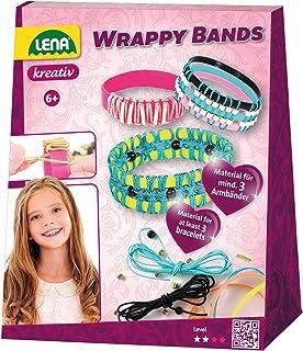 Lena 42652 Wrappy Bands pysselset, komplett set för minst 3 armband med 7 silikonband i 5, snöre i 4 färger och 48 trådpär...