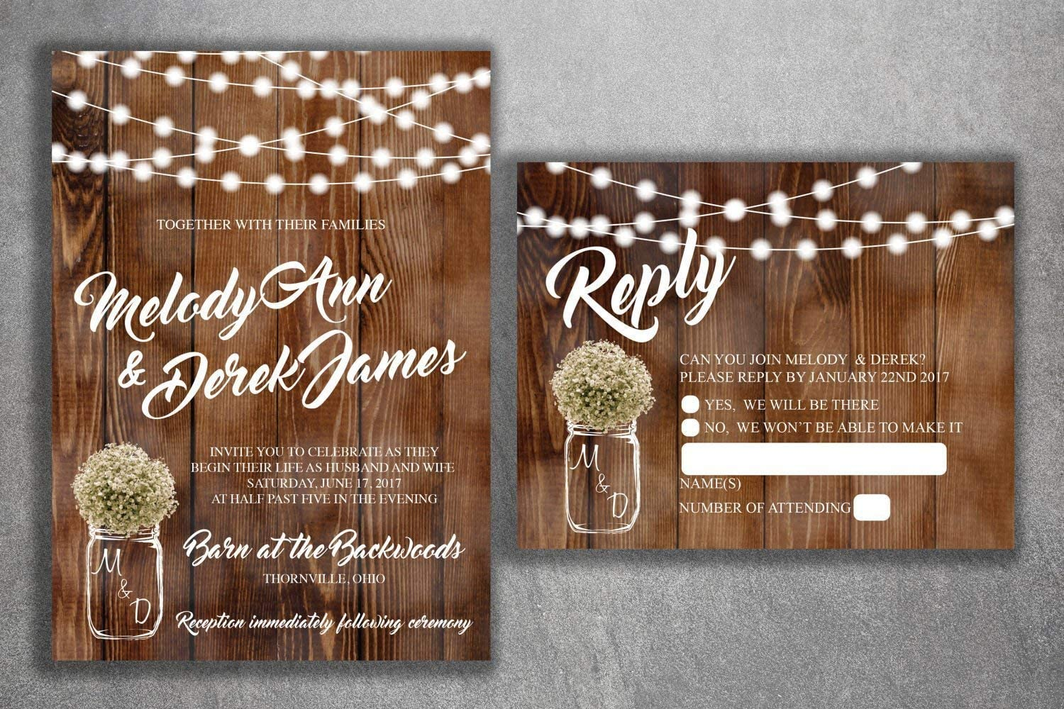 Rustic Wedding Invitations Country Theme Set With RSVP Cards and Extra Card Calla Lily Barrel Baby Breath Set of 80