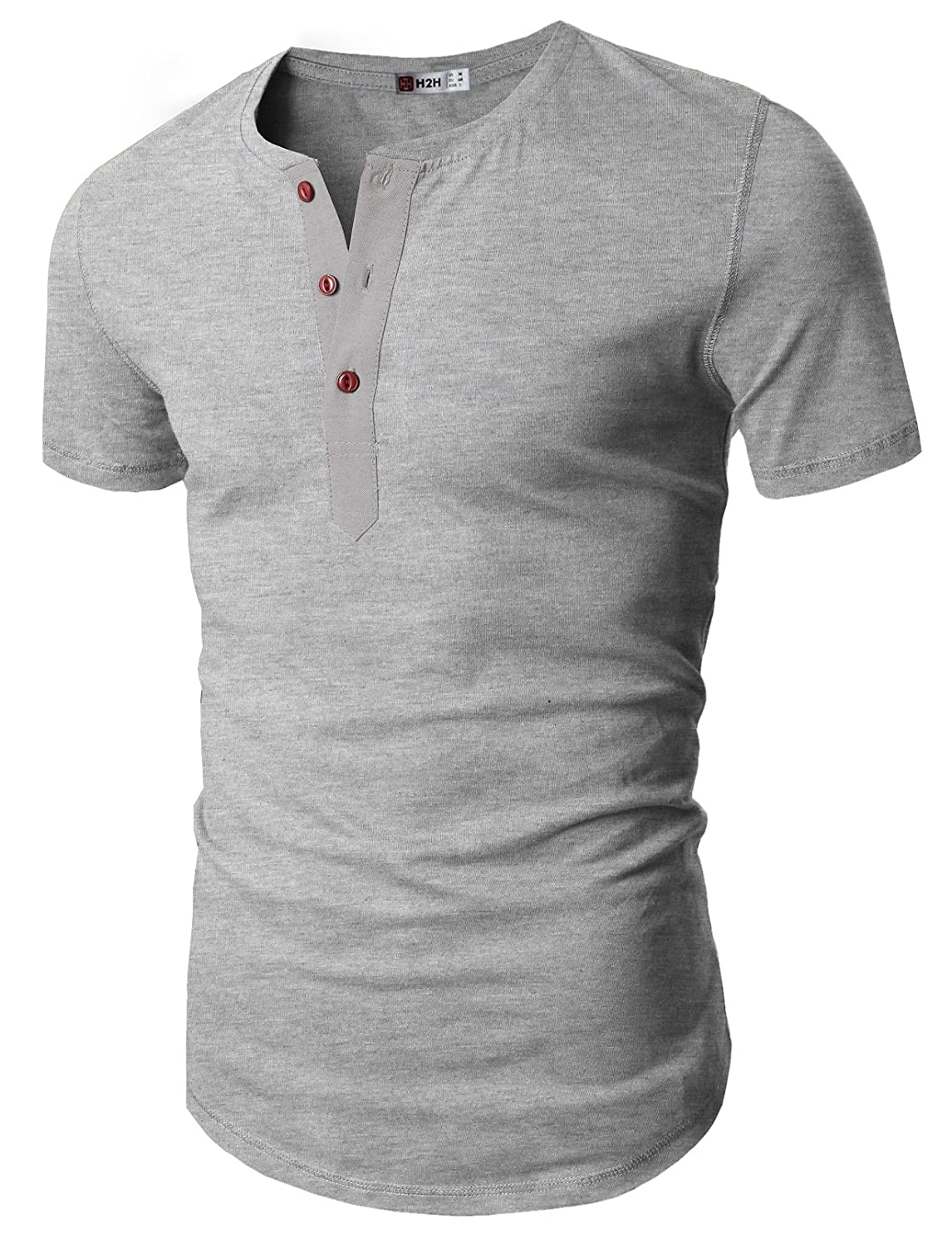 H2H Men's Casual Slim Fit Henley Shirts Summer Clothes Cotton Blended Basic Designed
