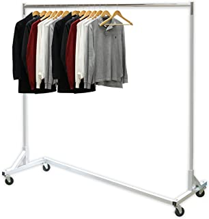 """Simple Houseware Industrial Grade Z-Base Garment Rack, 400lb Load with 62"""" Extra Long bar"""