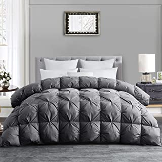 HOMBYS Luxurious All-Season Down Comforter King Size Duvet Insert Feather Hypo-allergenic Grey Pinch Pleat 100% Cotton Cover Down Proof with Corner Tabs Premium Baffle Box Design-Gray Down Comforter