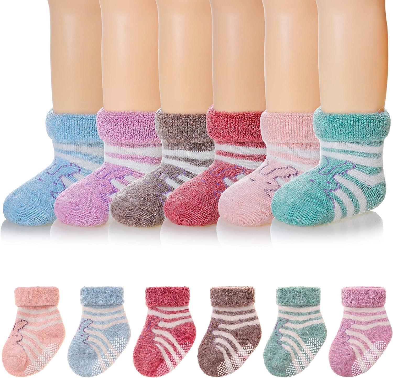 Baby Boys Girls Non Skid Socks Toddler Children Winter Wool Soft Thick Kids Warm Grip Socks
