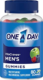 One A Day Men's VitaCraves Multivitamin Gummies, Supplement with Vitamin A, Vitamin C, Vitamin D, Vitmain E, Calcium & mor...