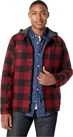 Wool Blend Trucker with Jersey Hood and Soft Sherpa Lining