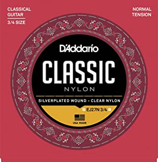 D'Addario EJ27N 3/4 Student Nylon Fractional Classical Guitar Strings, Normal Tension