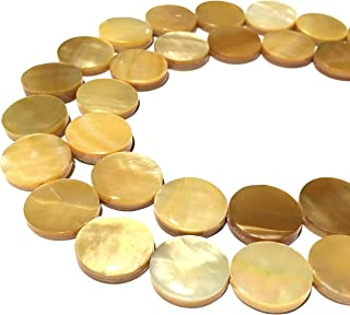[ABCgems] Extremely Rare Saltwater Tahitian Golden Lip Oyster Shell (Exquisite Luster) Large 20mm Coin Beads for Beading & Jewelry Making