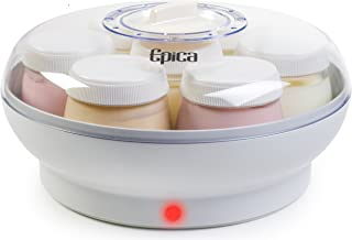 "Epica Homemade Organic ""Set and Go"" Electric Yogurt Maker with Seven, 6 oz. Dishwasher-Safe Glass Jars and Lids"