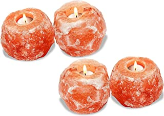DIECH - Vela de sal del Himalaya con forma de roca de cristal | Soporte para vela de té mineral natural naranja | Decoración de mesa naranja | Lámpara de noche brillante y atractiva, 4 Pcs