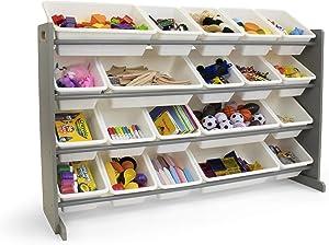 Humble Crew WO180 Extra-Large Kid's Toy Organizer, 20 Storage Bins, Universal, Grey/White