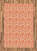 Shells Area Rug, Sketched Warm Colored Seahorse Starfish Scallops and Lace Murex, Non Slip Rug Pad 2.6' x 5' Rectangle, Safe for Hardwood Floors and All Surfaces