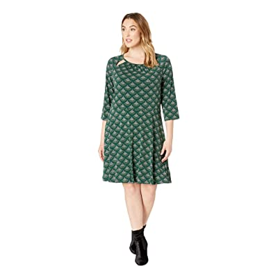 MICHAEL Michael Kors Plus Size Chandelier 3/4 Sleeve Dress (Dark Emerald) Women
