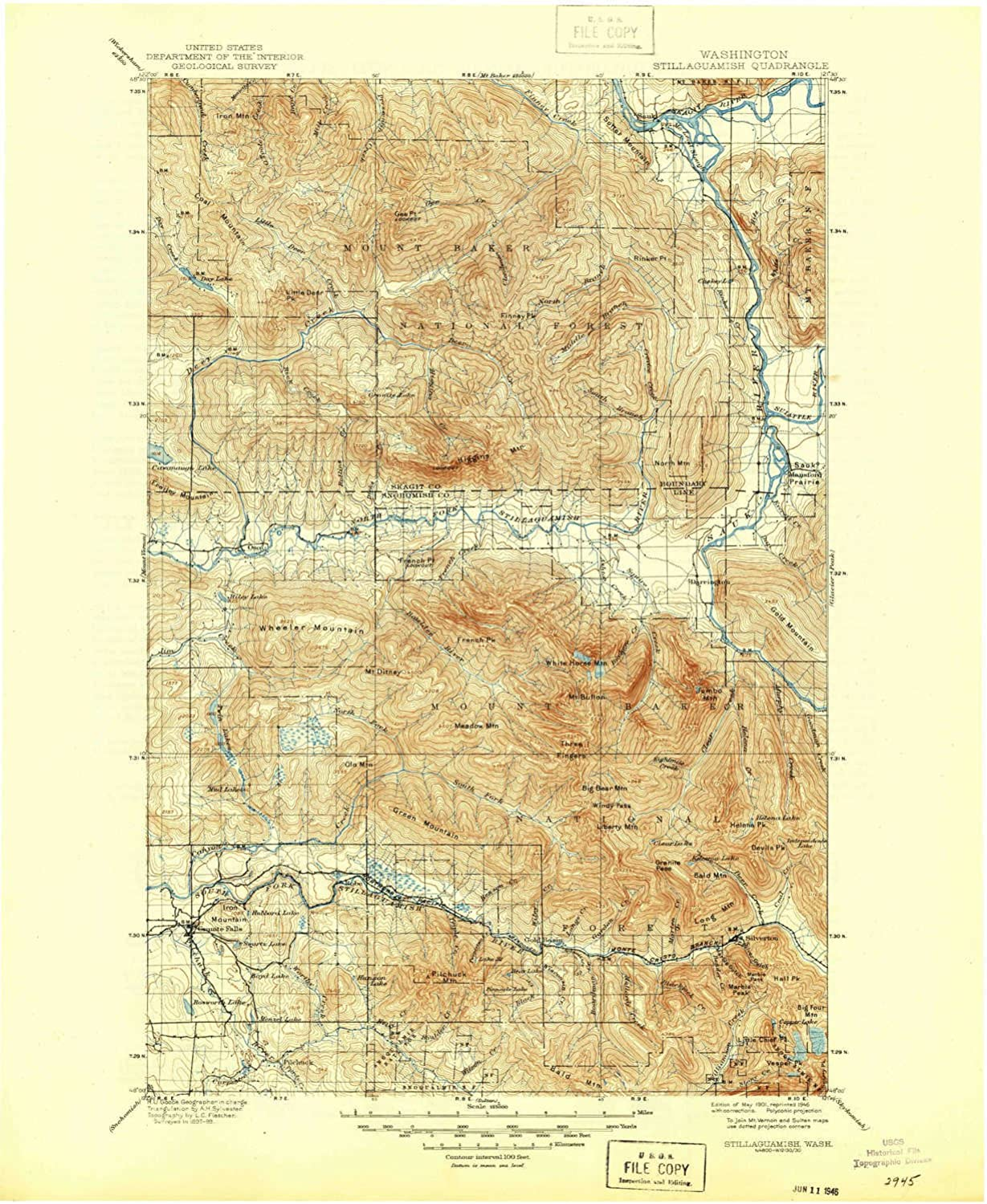 Stillaguamish WA topo map, 1 125000 Scale, 30 X 30 Minute, Historical, 1901, Updated 1946, 20.8 x 17.1 in