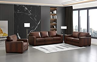 Hydeline Dillon 100% Leather Sofa Set (Sofa, Loveseat, Chair, Brown)