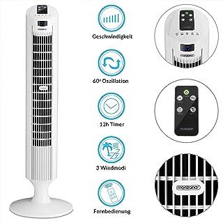 Deuba Ventilador de Torre Blanco con función Turbo y Mando a Distancia 3 velocidades y Funciones Aire Acondicionado