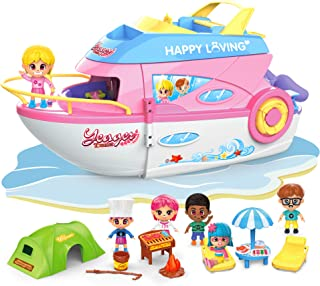 iPlay, iLearn Girls Dollhouse Playset, Boat Toy Set W/ Small Dolls, Kids Pretend House Accessories W/ Cruise Ship, 3 Inch ...