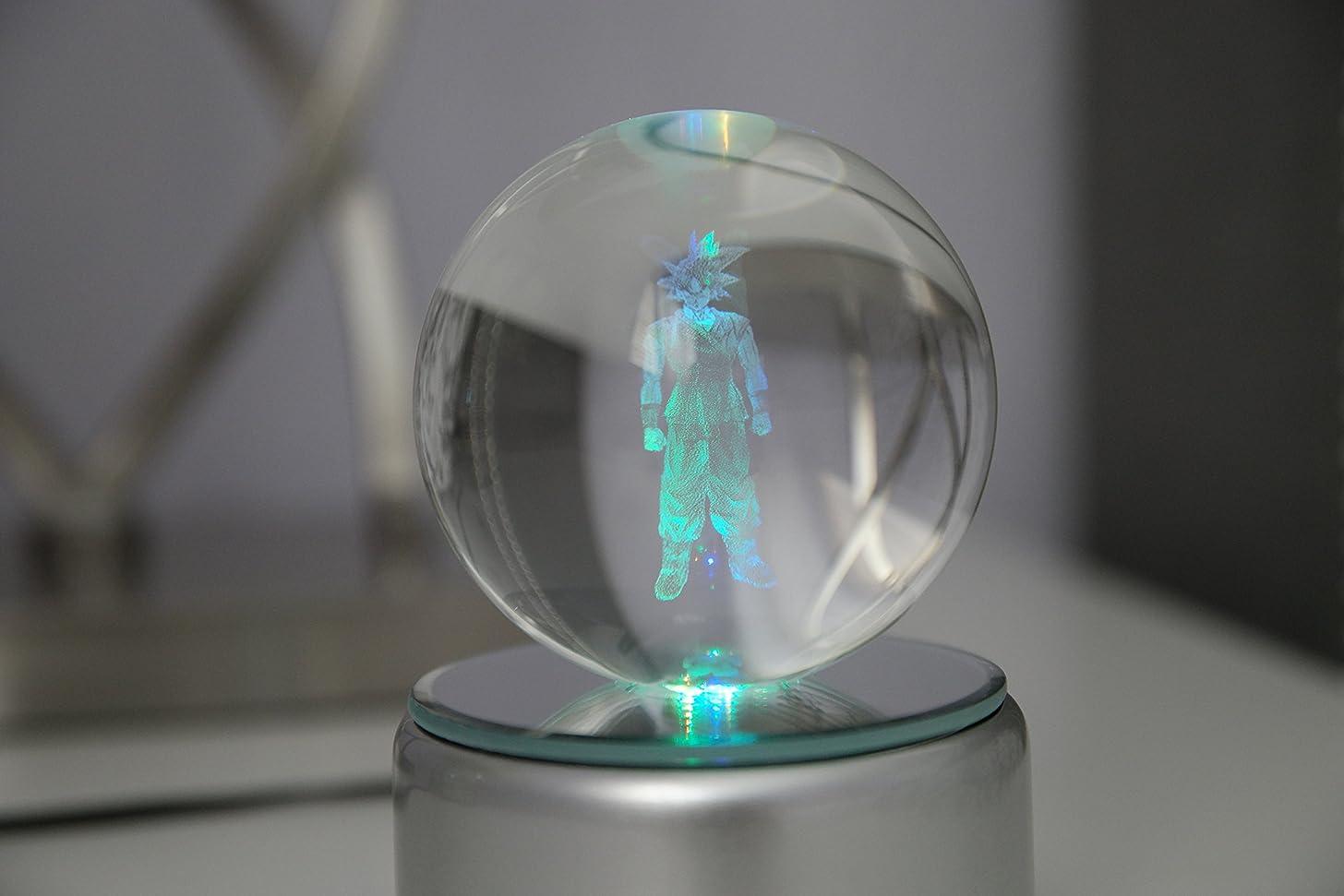Dragon Ball Z Super K9 Crystal Ball 3D LED Rotating Night Light Laser Engraved Changes Colors (Goku 1 Star)