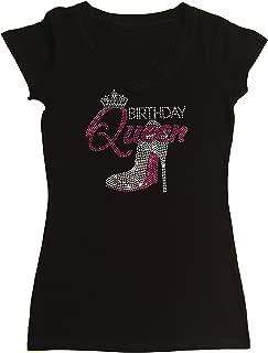 Women's T-Shirt with Pink Birthday Queen with Heel in Rhinestones