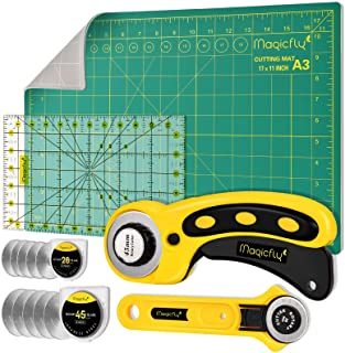 Magicfly Rotary Cutter Set, 45mm and 28mm Fabric Cutters Kit with Extra 10 Blades, A3 Double-Sided Self Healing Cutting Ma...