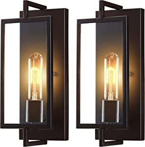 [2 Pack] Cloudy Bay Vintage Wall Sconce Set of Two,Industrial Wall Lighting Fixtures,Rustic Wall Light Dark Bronze Finish Suitable for Bedroom Living Room Hallway,2PCS E26 Base T10 Bulb Included