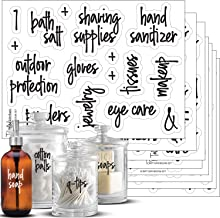 Script Bathroom Beauty Preprinted Labels, Organization Set. 105 Clear Script Stickers by Talented Kitchen. 105 Water Resis...