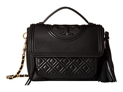 Tory Burch Fleming Satchel (Black) Satchel Handbags