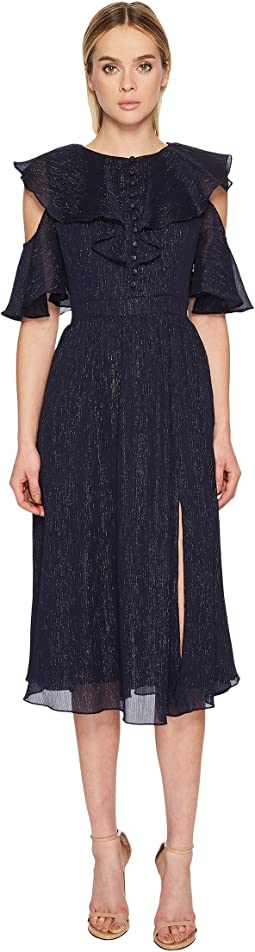 Prabal Gurung Crinkle Lurex Chiffon Long Sleeve Dress