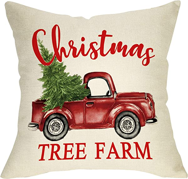 Ussap Christmas Tree Farm Vintage Red Truck Winter Holiday Decoration Merry Xmas Farmhouse Decorative Throw Pillow Cover Cushion Case For Sofa Couch Home Decor Cotton Linen 18 X 18