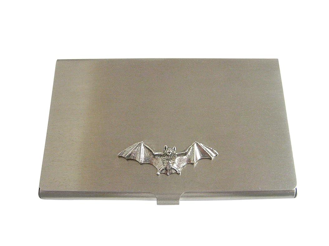 予防接種剣悪性Silver Toned Textured Batビジネスカードホルダー