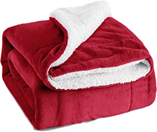 Bedsure Sherpa Fleece Blanket Throw Size Red Plush Throw Blanket Fuzzy Soft Blanket Microfiber