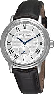 Raymond Weil Mens Maestro Swiss Automatic Stainless Steel and Leather Casual Watch, Color: