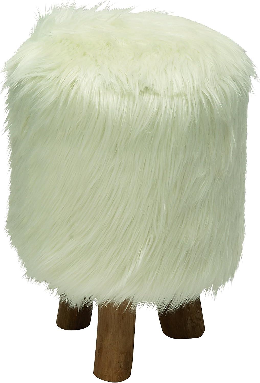 Deco 79 50829 Wood Faux Fur Round Stool, 13  x 19 , White
