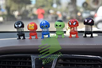 SHOPPERWORLD Car Decoration Cartoon Spring Shake Head for The Hollywood Superhero Toy Adornment Doll Auto Dashboard Ornament(Pack of 6), (Multicolor)