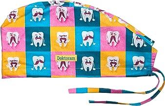 DOKTORAM Scrub Cap Funny Tooth and Teeth Color Prints Unisex Doctors Skull Medical hat