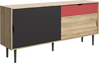 Tvilum Unit 1 Drawer and and 2 Door Sideboard, Oak Structure/Dark Grey/Teracotta