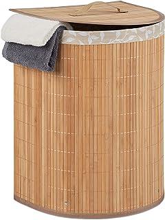 Relaxdays 10034142_126 Panier à Linge, Bambou, Polyester, MDF, Nature, 1 unité