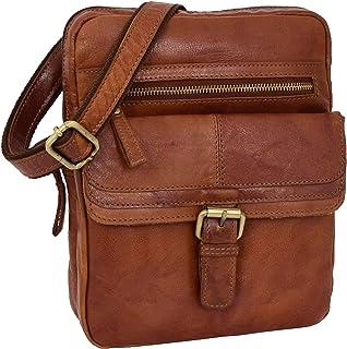 Mens Real Leather Cross Body Organiser Bag Flight Classic Pouch Ashton Tan