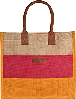 PROMISE Eco-Friendly Jute Bag, Three Piece Tiffin/Shopping/Grocery Hand Bag With Handle for Men and Women. (Yellow)