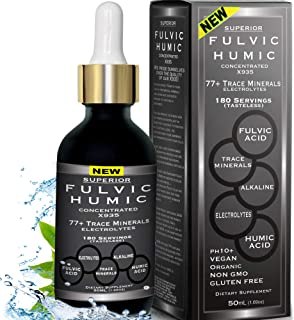 Fulvic Acid and Humic Acid Trace Mineral Drops 6 Month Supply, Electrolyte Energy Boost. All Natural Organic Plant Derived...