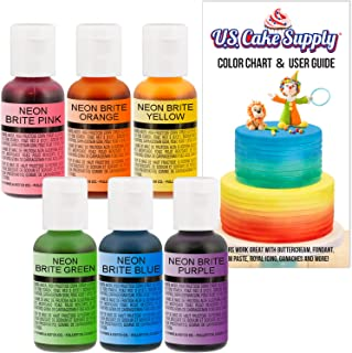 U.S. Cake Supply by Chefmaster Airbrush Cake Neon Color Set - The 6 Most Popular Neon Colors in 0.7 fl. oz. (20ml) Bottles