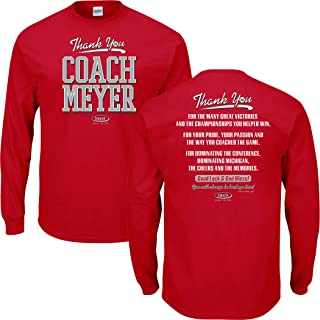 Ohio State Football Fans. Thanks Coach Meyer Red T-Shirt (Sm-5X)