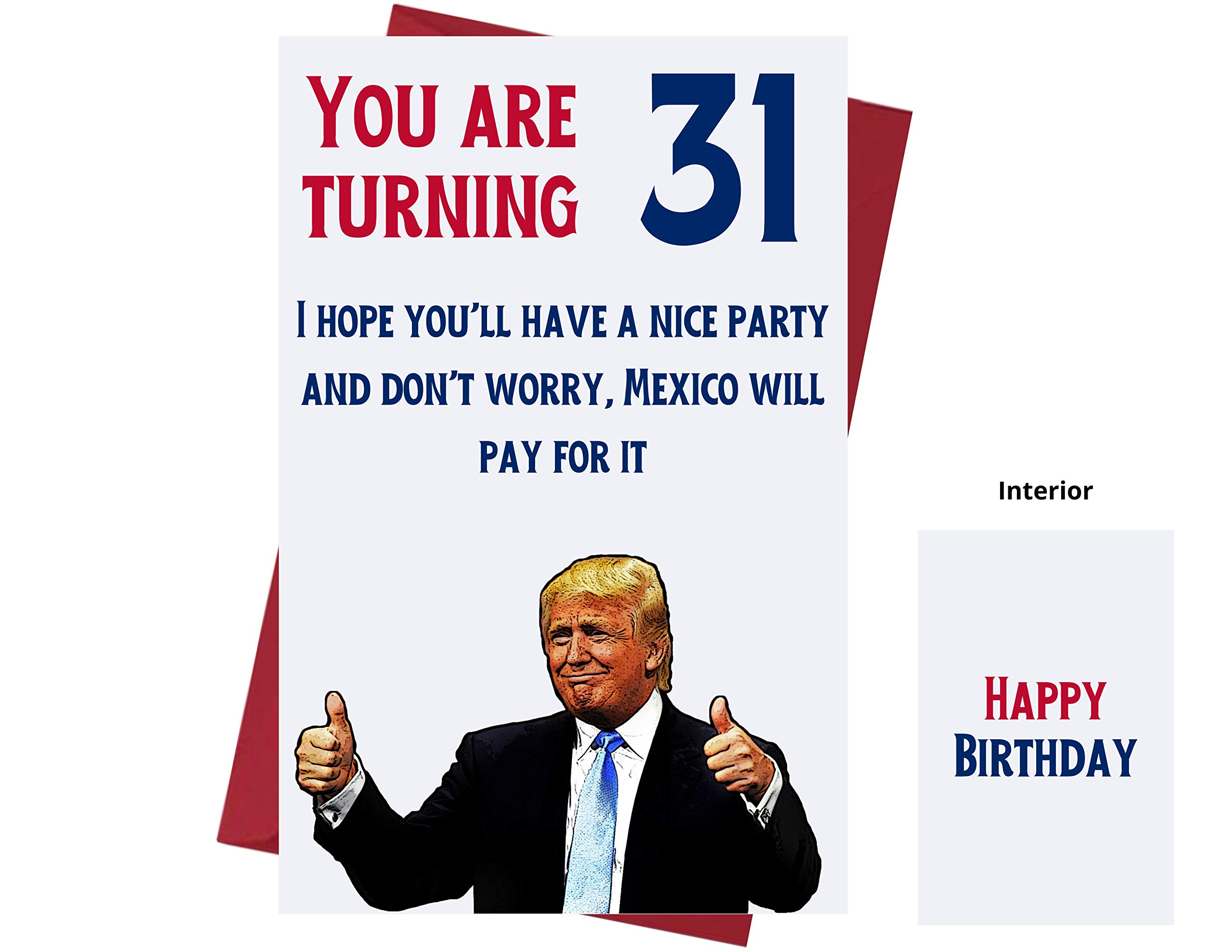 Let's Make 31 Great Again – Donald Trump – Sarcasm 31st Birthday Cards for Women, Men, Friends, Coworkers, Etc. – Donald Trump Birthday Cards 31 Years Old – 31st Birthday Cards 31st Anniversary