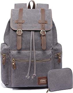 Vintage Rucksäcke,Kaukko Canvas Laptop Rucksack Damen Herren Schulrucksack Daypack Stylisch Backpack für Outdoor Wanderrei...