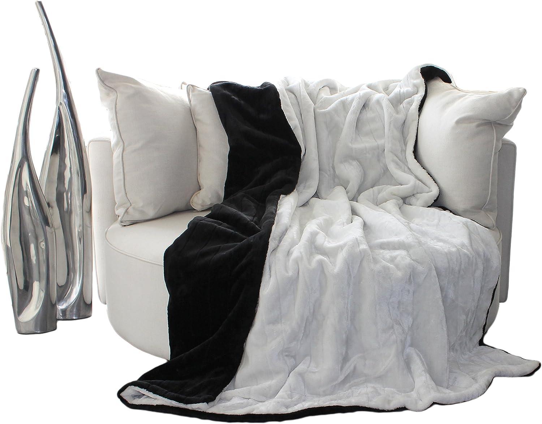 Brandsseller Brandsseller Brandsseller Doppelseitige Felldecke im zweifarbigen Design - Wohndecke Tagesdecke Sofadecke Kuscheldecke - Größe  150 x 200 cm - Farbe  Schwarz Weiß - Exclusiv B01K4U8YP8 60e0ca