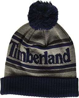 Timberland mens Logo Cuffed Beanie with Pom Cold Weather Hat