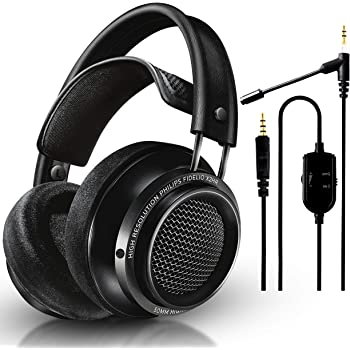 Philips Audio Fidelio X2HR Over-Ear Open-Air Headphone 50mm Drivers (Black) + NeeGo Attachable Microphone for Headphones - Gaming and Communication