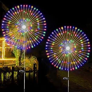 2 PCS Solar Firework Light, Outdoor Solar Garden Decorative Lights 120 LED Powered 40 Copper Wires String DIY Landscape Li...