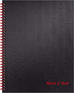 Black n' Red Twin Spiral Hardcover Notebook, Large, Black/Red, 70 Ruled Sheets, Pack of 1 (K67030)
