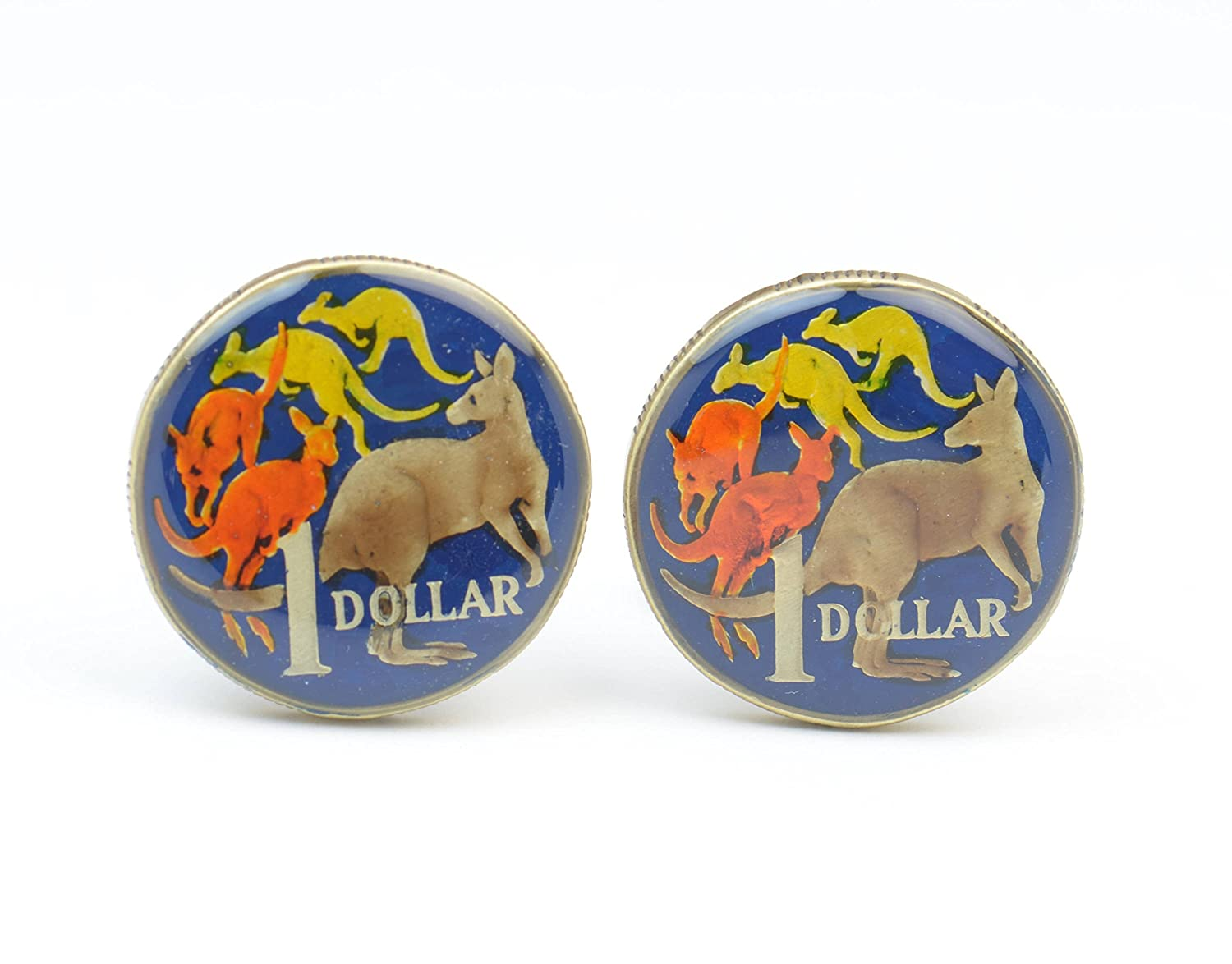 Seattle Mall Cufflinks hand painted enamel coin. di Cuff Australia.Coin Attention brand links